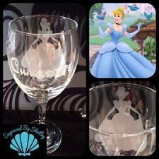 Personalised Disney Princess Cinderella Wine Glass Handmade & Free Name Engraved