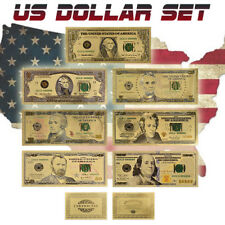 WR 7PCS Color Gold US Banknote Set New $100 - $1 Dollar Bill Golden Paper Money