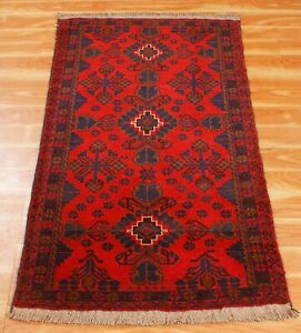 Hand Knotted Runner Rug 3x4 ft Handmade Oriental Wool Home/Office Area Rugs