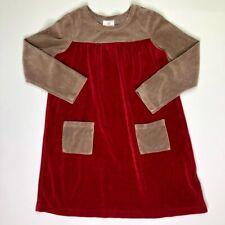 Hanna Andersson Girls Velour Burgundy Tan Dress 130 8