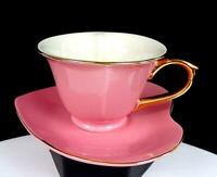 "CLASSIC COFFEE & TEA CHINA PORCELAIN HEART SHAPED PINK 2 1/2"" CUP AND SAUCER"