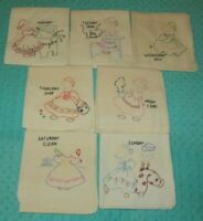 Vintage Embroidered Dutch Girl Day of the Week Flour Sack Towels Kitchen Textile