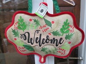 WINTER DOOR WELCOME FABRIC DOOR HANGER HOLIDAY SIGN APPLIQUE PLOW & HEARTH HANG