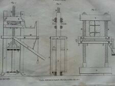 ANTIQUE PRINT DATED 1809 PRESSES ENGRAVING ENGINEERING EQUIPMENT MACHINES ART