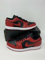 Nike Air Jordan 1 Low Shoe Reverse Bred Black Gym Red 553558-606 Men's Size 8-10