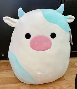 "Squishmallow 16"" Easter Springtime Belana Blue White Cow No Bandana Hard To Find"