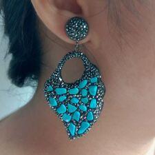 2.5'' Blue Turquoise Black Crystal Pave Stud c Earrings