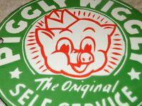 VINTAGE PIGGLY WIGGLY ORIGINAL SELF SERVICE GROCERY STORE 6 PORCELAIN METAL SIGN