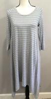 Matilda Jane Her Majesty Womens Dress Medium Blue Gray Stripe 3/4 Sleeve