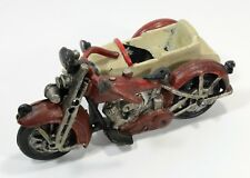 Vintage Cast Iron Motorcycle with Side Car 8.5 in Larger Size Replica