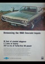 "1968 CHEVROLET IMPALA 327 V8 AD A2 CANVAS PRINT POSTER FRAMED 23.4""x16.5"""