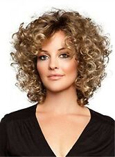 Women Short Brown Natural Loose Kinky Curly Ladies Cosplay Daily Hair Full Wigs