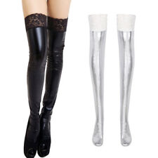 5361c878f4a Women Lingerie Lace Thigh High Stockings Wetlook Patent Leather Metallic  Floral