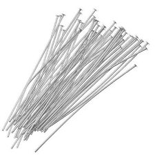 200Pcs Silver Head Pins for Jewelry Making, 35mm Z6M6