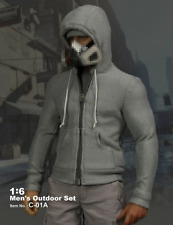 1/6 Scale Male Soldiers Accessories Clothes Slim Gray Zipper Hoodie Fleece