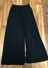 Tadashi Shoji Palazzo Pants Womens  Black Micro Mesh Wide Leg Sheer Layered M ~X