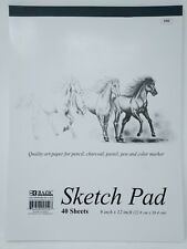 """Bazic Sketch Pad Book  9"""" x 12"""" 40 Paper Sheets for Pencil Ink Pastel"""