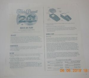 2002 Trivial Pursuit 20th Anniversary Edition Replacement Instruction Sheet
