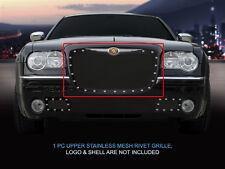 Black Stainless Steel Rivet Mesh Grille Grill For Chrysler 300/300C 2005-2010