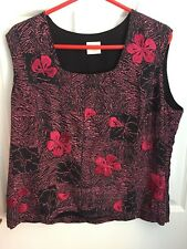 Country Casuals Size 18 Embroidered top Black Pink Work Career Dinner Party