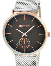 Henley Mens Adjustable Mesh Band Watch BROWN & Rose Gold Tone Dial New & Boxed