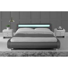 Kingway Furniture Modern Faux Leather Upholstered Calking Platform Bed in Gray