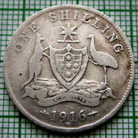 AUSTRALIA GEORGE V 1916 M ONE SHILLING, SILVER