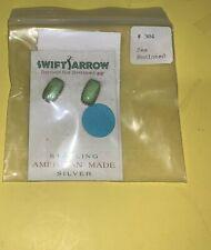 Sterling Silver Denim Lapis Gaspeite Earrings Oval Post Swift Arrow Green