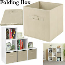 Canvas Storage Boxes Foldable Fabric Collapsible Folding Cube Cloth Basket XL