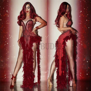 2020 Red Feather Rhinestone Open Dress Dress Stage Costume Female Long Skirt
