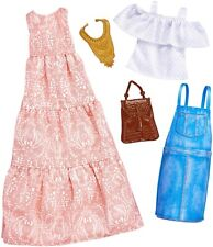 Barbie Clothing 2 Fashions Pack Boho Dress & Denim Skirt Top Casual Outfit