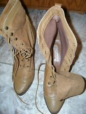 Rush Hour 8B tan Leather & Suede Cowboy Boots Classic Style brass accents Nice!