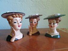 Lot of 3 Vintage Napco 1958 Lady in Pearls Head Vases Black, Green, Brown