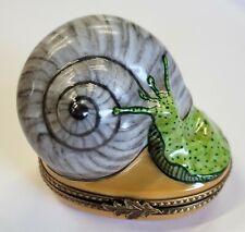 Limoges France Peint Main Rochard Large Snail with Shell Porcelain trinket box