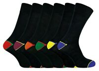 6 Pack Mens Thin Breathable Cotton Crew Black Dress Socks with Colored Toes