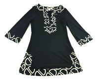 White House Black Market Womens Black White Long Sleeve Dress Blouse Size XS