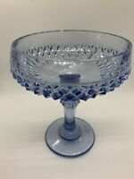 "Vintage Indiana Glass Clear Blue Diamond Point Compote Candy Dish 7.5"" Tall"