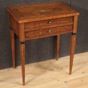Tavolino intarsiato stile antico Luigi XVI mobile tavolo salotto 2 cassetti 900