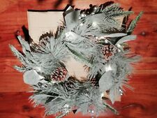 Xmas wreath,pine cones and mistletoe, frosted effect, lit up, indoor, brand new
