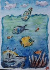 The Message ACEO Card Original artwork Watercolor  Painting ACEO