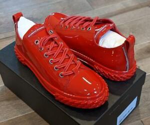 "$675 Mens Giuseppe Zanotti ""Blabber"" Tonal Patent Leather Sneakers Red 42 US 9"