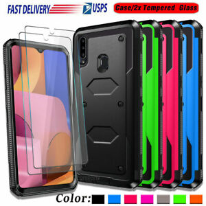 For Samsung Galaxy A20S Phone Case Shockproof Armor Hard Cover + Tempered Glass