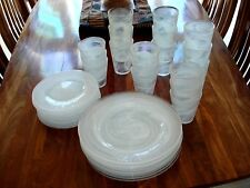 DINNER WARE SET:  8 PLACE SETTING OF OPAQUE GLASS WITH WHITE SWIRL PATTERN.