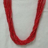 Vintage Multi Strand Red Glass Bead Necklace
