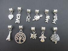Mix 50PCS Tibetan Silver Dangle Charms Beads Pendants Fit European Bracelet