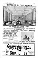 1905 Estampado Anuncio SIMPSON En Hebra Restaurante