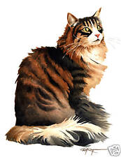 Norwegian Forest Cat Watercolor 8 x 10 Art Print by Artist Djr