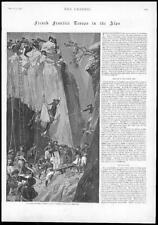 1895 - Antique Print FRANCE Frontier Troops Alps Mules Precipice Hoist  (165)