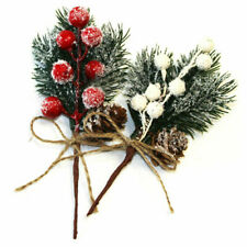 10/20X Fake Snow Frost Pine Branch Cone Berry Holly Xmas Tree Christmas Ornament