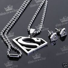 Superman Stainless Steel Pendant Earrings Set Free Shipping Tracking